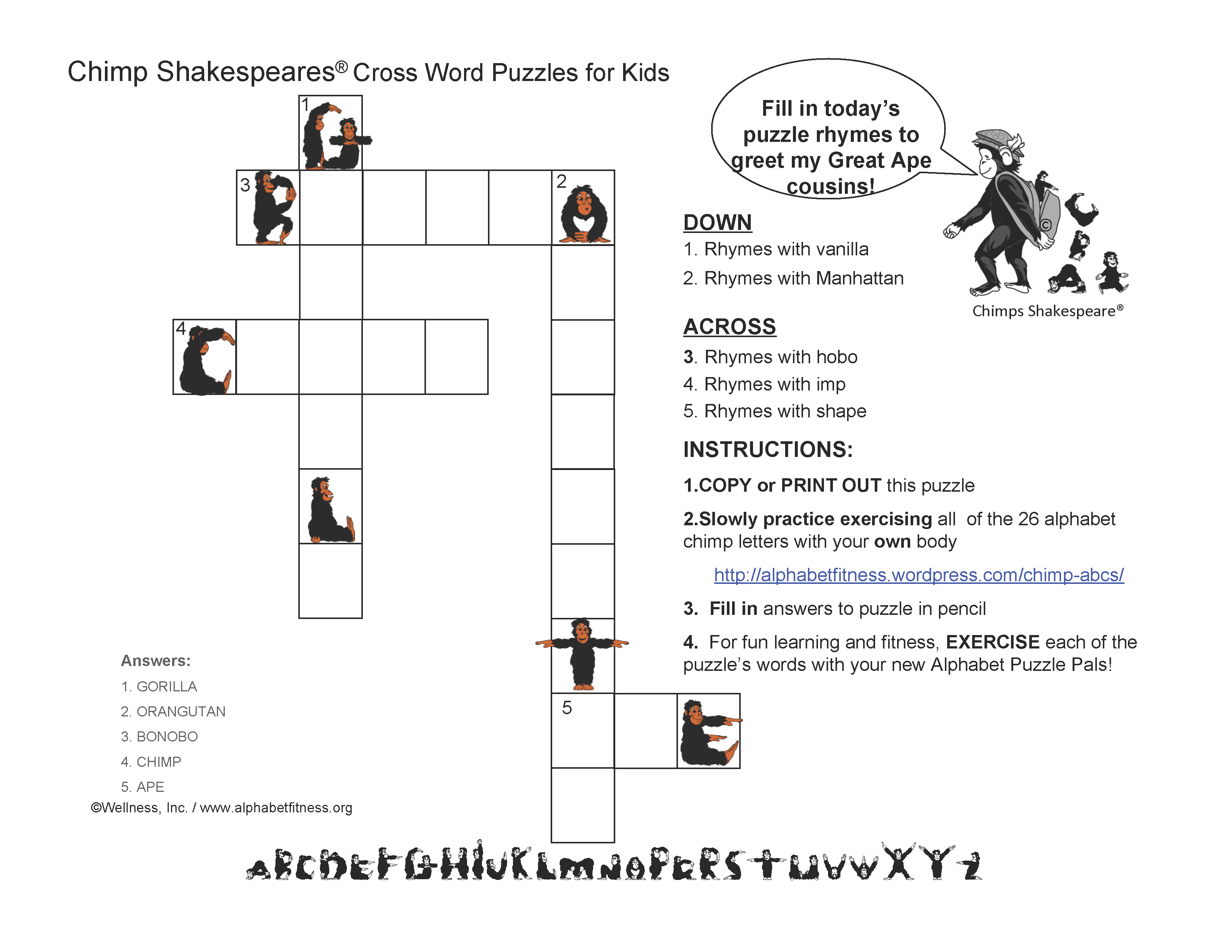 Alphabet fitness puzzles and fund raisers alphabet fitness cs great ape cousins puzzle02162015 ccuart Gallery